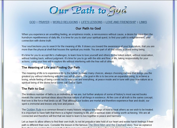 Our Path to God website design